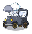 chef with food old cartoon car in side garage vector image vector image