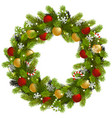christmas fir wreath with garland vector image vector image