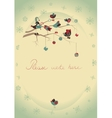 Christmas greeting card with birds vector image