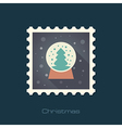 Christmas snow globe with a tree inside flat stamp