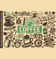 coffee set icons logos emblems symbol vector image