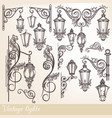 collection of street lamps and calligraphic swirls vector image