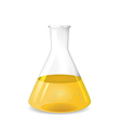Conical flask with chemical colored solution vector image vector image