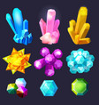 crystal gemstones cartoon jewels stones gem vector image vector image