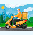 delivery man riding motorbike scooter with box vector image vector image
