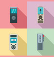 dictaphone icons set flat style vector image