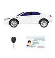 driver license key and white sport car vector image vector image