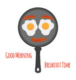egg sausages on pan cartoon flat style vector image
