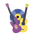 electric and classical guitar vinyl music colorful vector image vector image