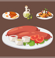 european tasty food cuisine dinner food showing vector image