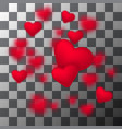 frame of falling small sparkling red hearts vector image vector image