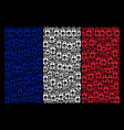 french flag mosaic of death skull tag items vector image