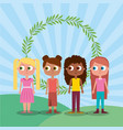 friends happy girl teen characters and floral vector image