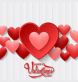 happy valentines day with heart on wood vector image vector image