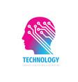 human head brain logo design computer electronic vector image vector image