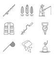 ice fishing icons set outline style vector image