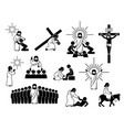 jesus christ stick figure icons and pictograph vector image