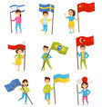 kids holding national flags of different countries vector image