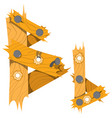 letter b from wooden planks alphabet vector image
