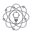 light bulb and atom around icon in dotted vector image vector image