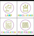 linear icons templates with office appliences set vector image