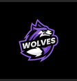 logo wolf e sport and sport style vector image