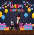 man performing magic tricks at birthday party vector image vector image