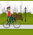 man with bicycle in the landscape vector image vector image