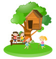 many kids playing in garden vector image vector image