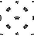 military hat pattern seamless black vector image vector image