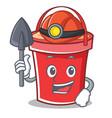miner bucket character cartoon style vector image vector image