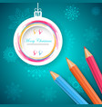 new year s ball with pencil - vector image vector image