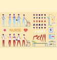 nurse character in hospital uniform nursing tools vector image