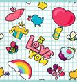 romantic love seamless pattern vector image vector image