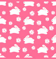 seamless pattern of white bunnies on pink vector image vector image