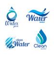 set abstract blue symbols water drops and wave vector image vector image