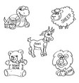 set of hand drawn soft toy doodles isolated on a vector image