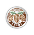 silver rounded cocoa badge isolated on white vector image