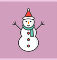 snowman with santa hat filled outline icon for vector image vector image