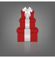 stack three realistic red gift boxes with white vector image vector image