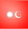 sun and moon icon isolated on red background vector image