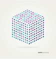 Three-dimensional cube of colored dots vector image