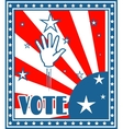 vote text on retro backdrop from usa flag elements vector image vector image