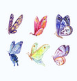 watercolor butterflies in three-quarter view vector image vector image