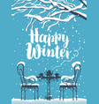 winter street cafe under tree with inscription vector image vector image