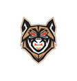 wolf head logo design template vector image vector image