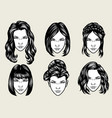 women hairstyles collection vector image vector image