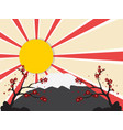 sun with mount fuji vector image