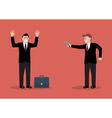 Businessman hold a handgun robs a businessman with vector image