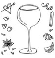 oversized wine coctail glass hand drawn vector image